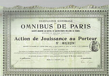 STOCK CERTIFICATE  OMNIBUS DE PARIS 1910  coupons attached