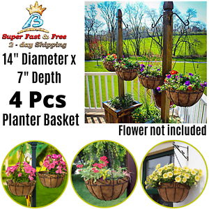 Home Garden Metal Hanging Planter Basket Coco Coir Liner Round Wire Plant Holder