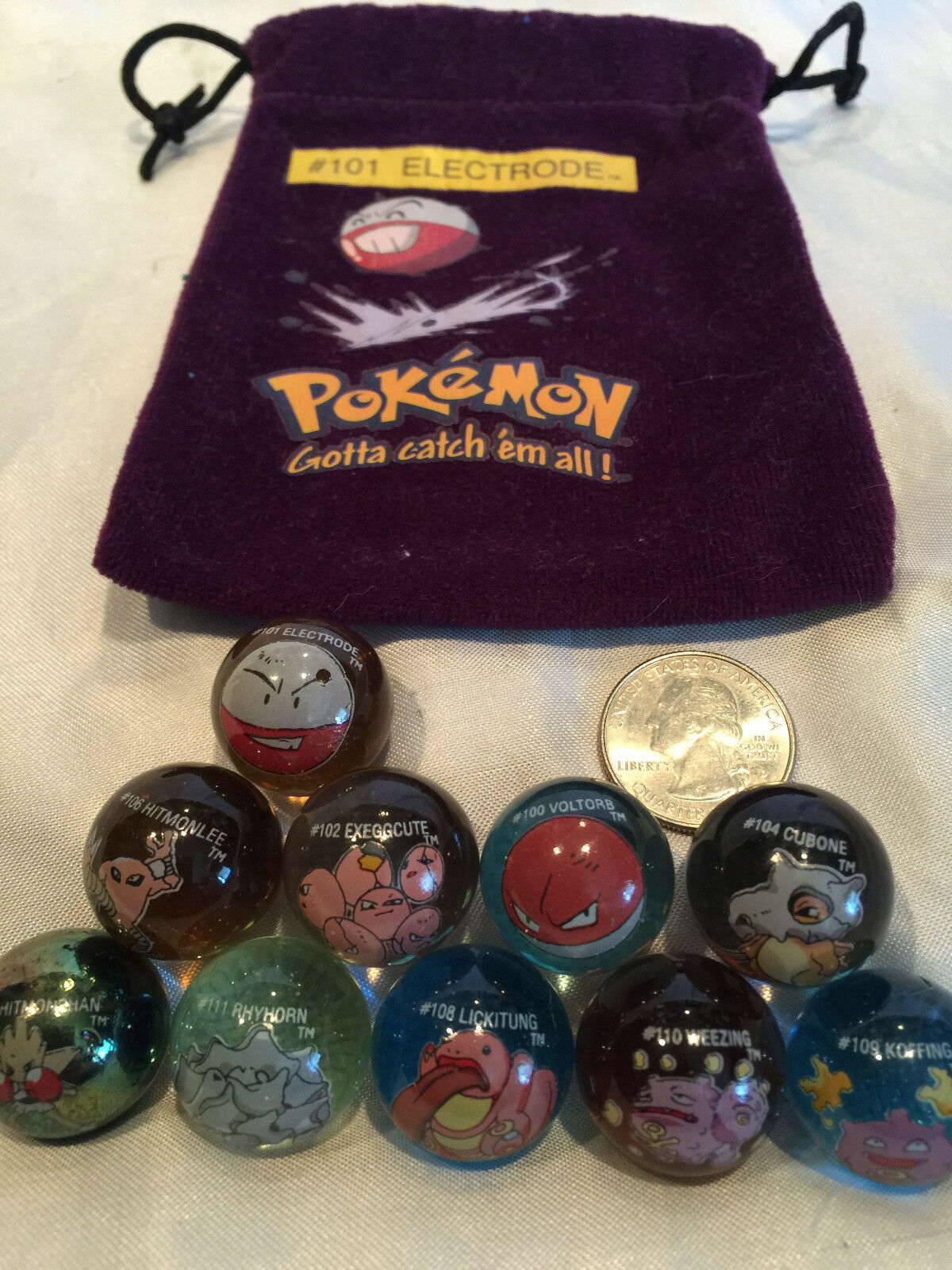 Mixed Lot Of 10 Collectible Vintage  Pokemon Glass Shooter Marbles Bag  101