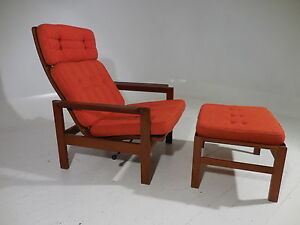 Image Is Loading Mid Century Danish Modern Teak Reclining Lounge Chair