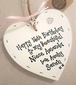 Image Is Loading Niece 16th Birthday Heart Plaque 18th 21st 30th