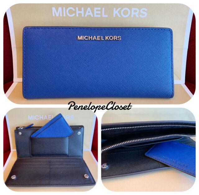 55aa81ca3fc423 Michael Kors Jet Set Travel Large Card Case ID Carryall Sapphire Clutch  Wallet