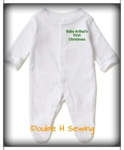 94e483718e44 Personalised CHRISTMAS baby sleepsuits. gift babygrow embroidered ...