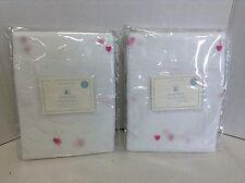 2 Pottery Barn Kids Hearts Sheers Drapes Panels Curtain Pink Pole 44X96