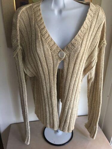 jersey Made lino a Cardigan cotone pezzo a Beige in 1 Turkey mano lavorato di s L bottone cotone in e Warm 6qZgwqvp