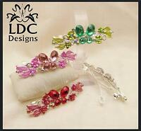 5 Colors Silver Butterfly Crystal Gem Floral Flower French Clip Hair Barrette