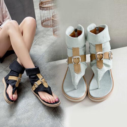 Canvas Sandals Women Shoes Denim Solid Color Buckle Strap Cuffed Ladies Fashion