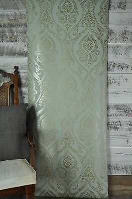 3 ROLL LOT York Wallcovering Metallic Bronze and Silver Damask on Blue Green Diy