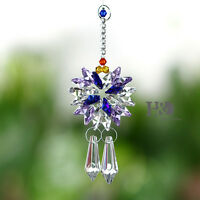 Purple Hanging Crystal Suncatcher Prisms Windows Pendants Rainbow Fengshui Decor