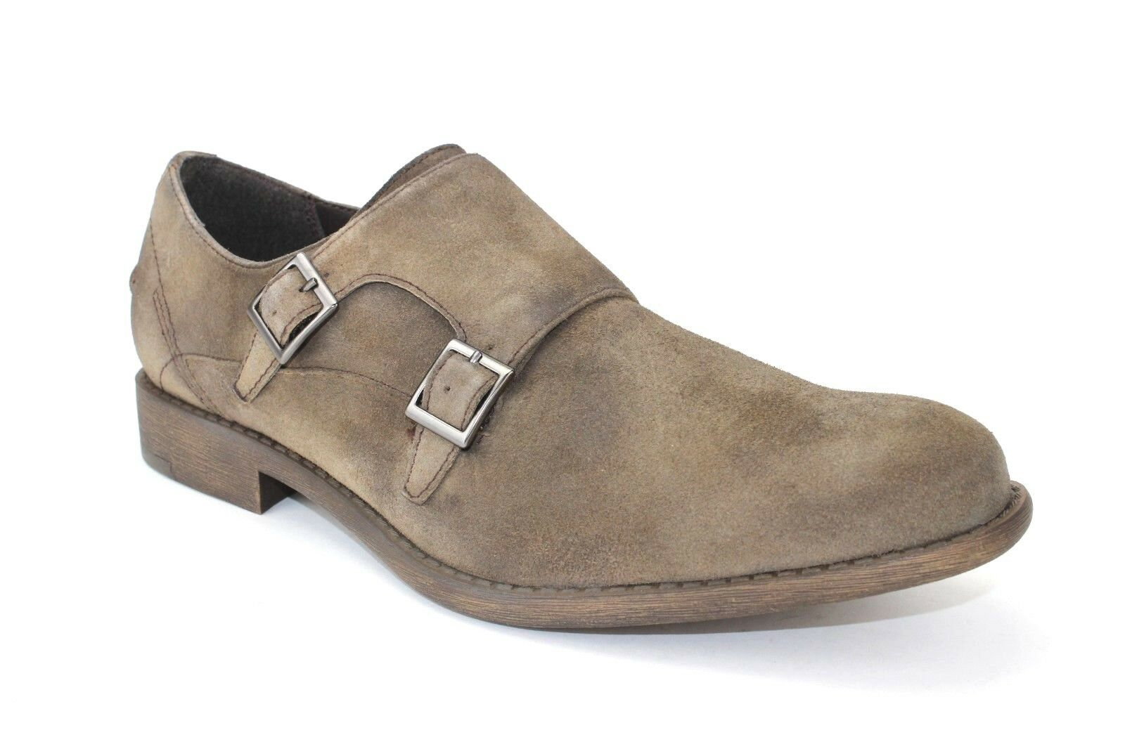 Kenneth Cole Reaction Men's Design 20644 Monk-Strap Suede Loafers Taupe Size 9 M