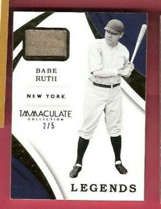 BABE-RUTH-GAME-USED-JERSEY-CARD-d-2-5-2018-IMMACULATE-LEGENDS-NEW-YORK-YANKEES