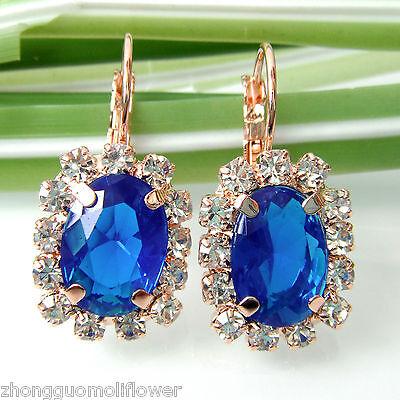 Navachi Blue Square 18K GP Crystal Rhinestone Leverback Earrings BH2075