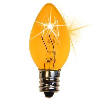 Box of 25 C7 Twinkle Amber Orange Triple Dipped Transparent Christmas Bulbs