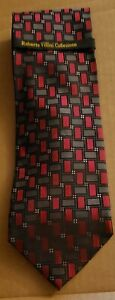 Roberto-Villini-Collezione-Silk-Designer-Tie-Interlocking-Squares-Red-Gray-NWT