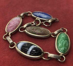 Vintage-Bracelet-7-Scarab-Beetle-Egyptian-Revival