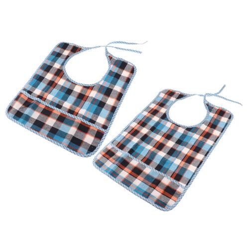 2er Lätzchen Esslätzchen für Erwachsene Blaues Gitter aus Baumwolle Farbe