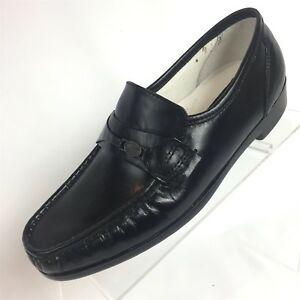 Details zu Deer Stags Size 7 M Black Leather Moc Toe Nice Loafers Shoes
