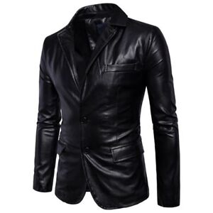 New-Men-039-s-Genuine-Lambskin-Leather-Blazer-Jacket-Soft-Coat-TWO-BUTTON-Blazer