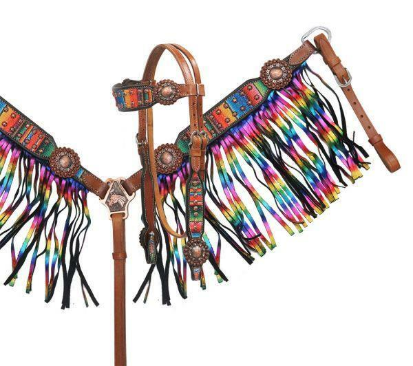 Showman   Serape Print Headstall & Breast Collar set Metallic Rainbow Fringe