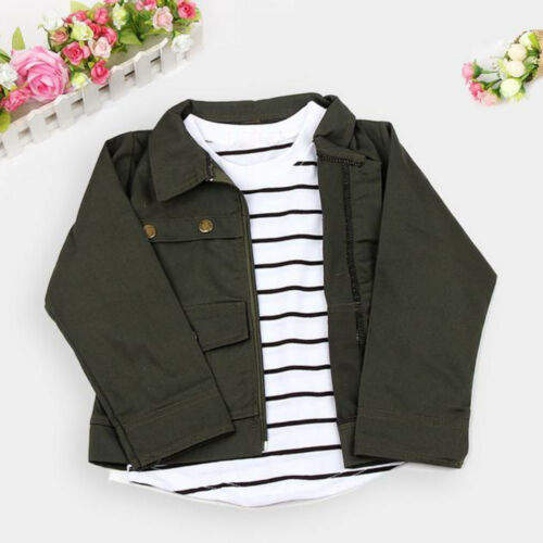 3PCS Kids Toddler Girls Warm Long Sleeve T-Shirt Tops Coat Pants Outfits Clothes