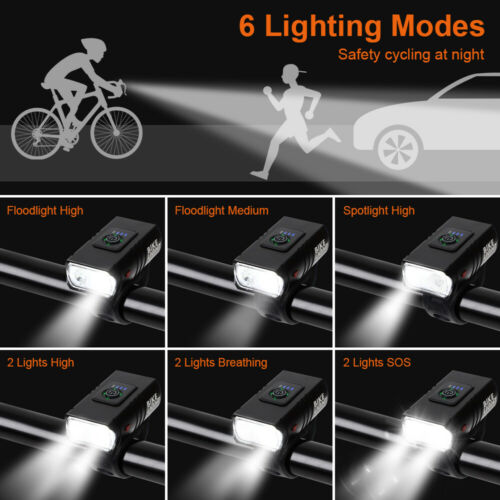 10W LED Bicycle Bike Head Light USB Waterproof Rechargeable Front//Rear Tail Lamp