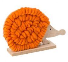 Wooden Animal Nordic Scandinavian Decoration Ornament Wool Hedgehog Orange