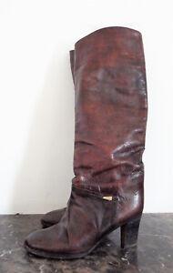 Détails sur Bottes Vintage cavalière en cuir très patiné Pointure 36 12