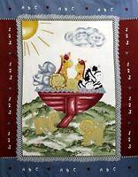Noahs Ark ABC Baby Juvenile Quilt top Panel Fabric 100% Cotton Craft Sew