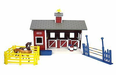 BREYER MODEL HORSES Red Stable with Two Horses 59197 Stablemates 1:32 Boxed