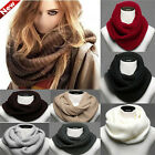 Hot Women Winter Warm Infinity 2 Circle Cable Knit Cowl Long Scarf Shawl 29