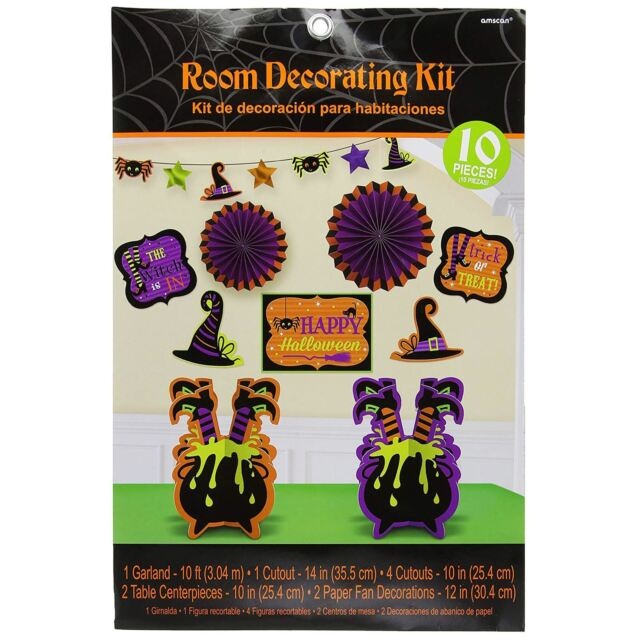 10pc Halloween Witches Crew Cauldron Room Decorating Kit Party Pack Banner Value