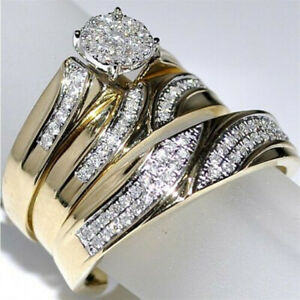 14K Yellow Gold Over Diamond His And Her Engagement Wedding Bridal Trio Ring Set