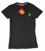 Ferrari Scuderia Sf shield Logo Black Womens V-neck T-shirt Brand Official