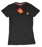 Ferrari Scuderia Sf shield Logo Black Womens V-neck T-shirt Brand Official
