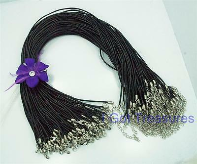"25 Black LEATHER Cord Necklaces 18""- 20"" with adjustable extender  2mm thick"