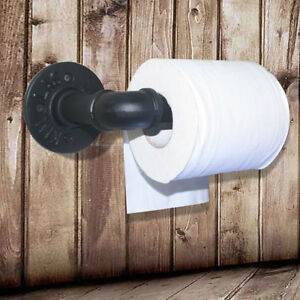 Industrial-Rustic-Toilet-Paper-Roll-Holder-Iron-Wall-Mounted-Pipe-Black-Bathroom