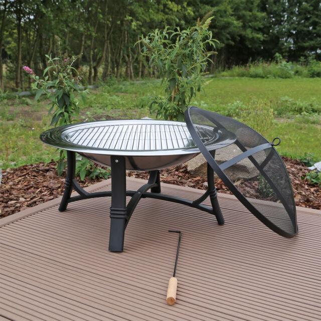 Feuerschale Feuerstelle Edelstahl mit Grillrost Gartenfeuer Grillschale  Garten