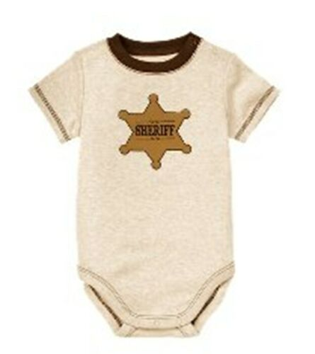 Janie /& Jack NWT Wheat HEATHER SHERIFF BADGE SHORT SLEEVE BODYSUIT TOP 12 18 24