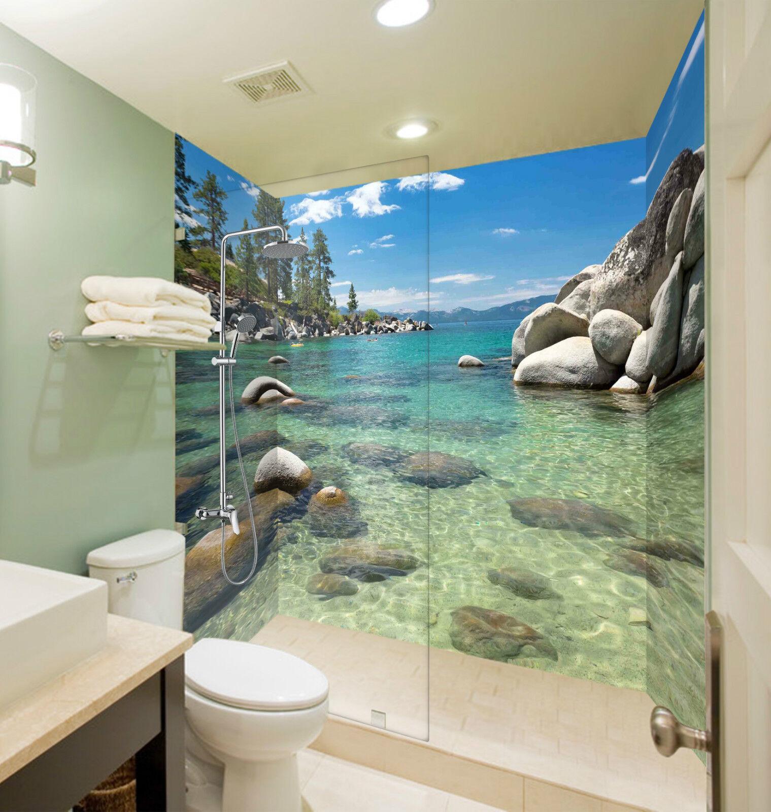 3D Sea Bay Stones 074 WallPaper Bathroom Print Decal Wall Deco AJ WALLPAPER CA