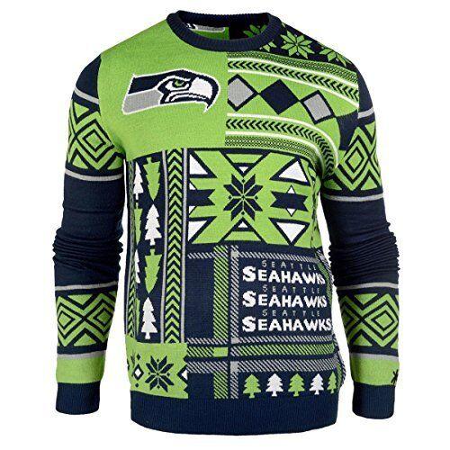 Ugly Weihnachten Pullover NFL Seattle Seahawks Aufnäher Fußball Holiday Crew