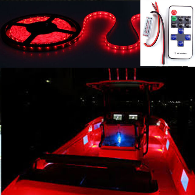16 ft Wireless Red LED Light Strip Kit For Boat Marine Deck Interior Lighting & Wireless Red LED Light Strip 16 FT Kit for Boat Marine Deck Interior ...