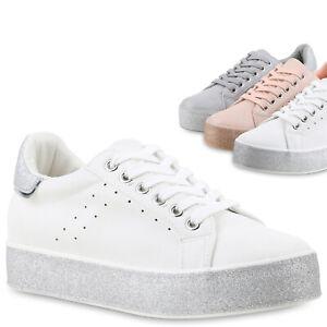 07be31786c98e8 Das Bild wird geladen Damen-Plateau-Sneaker-Glitzer-Turnschuhe-Freizeit- Schuhe-Lack-