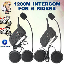 2X V6 1200M 6Riders Bluetooth Interphone Motorcylce Helmet Intercom Headsets Kit