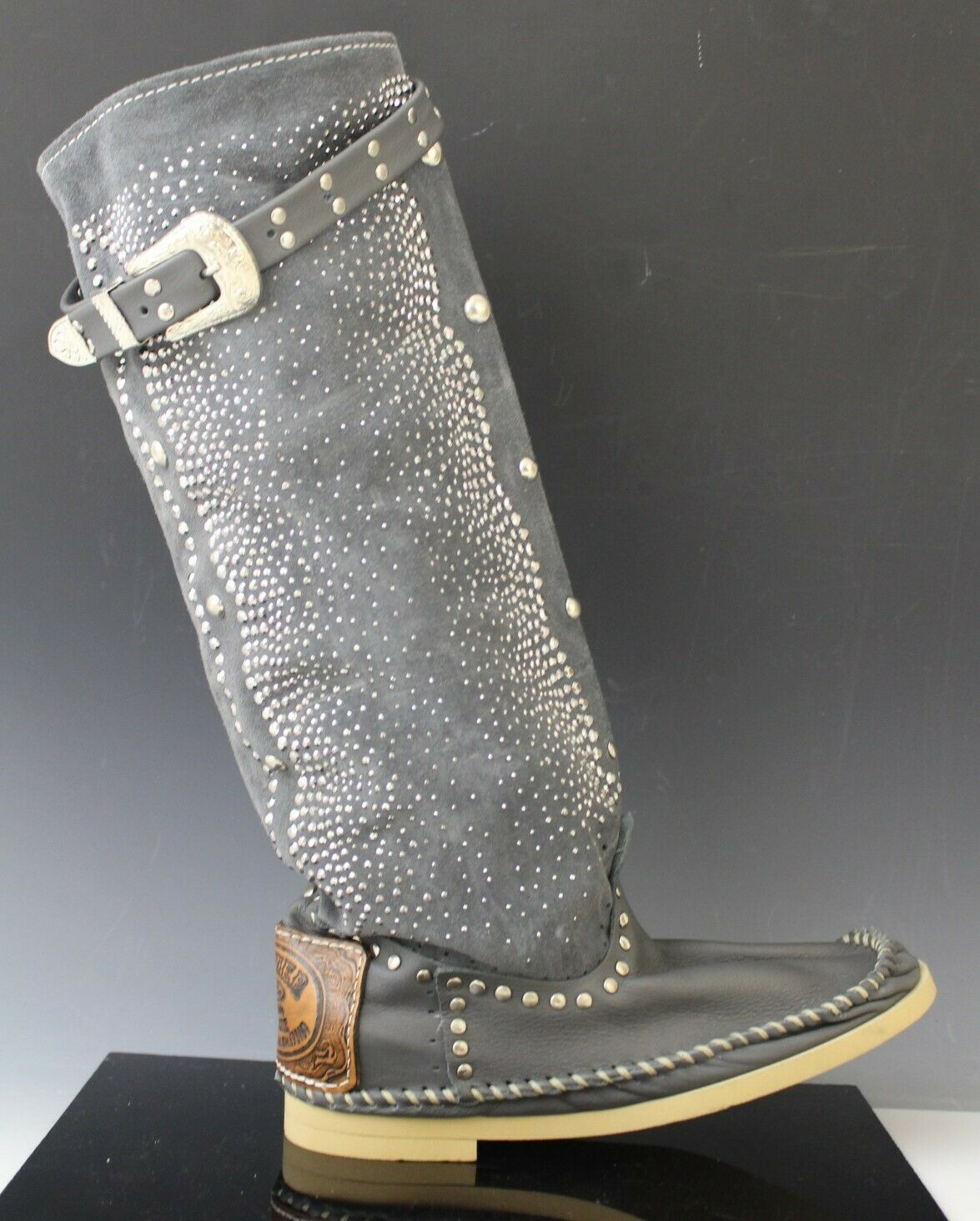 Hector Italian Leather Studded Moccasin Boots shoes Micro Alto Dark Grey US 6