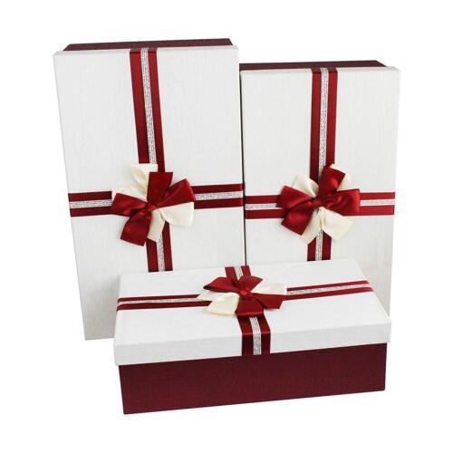 Lot de 3 Grand Luxe rectangle Mariage Douche Party Candy stockage Boîtes-cadeaux