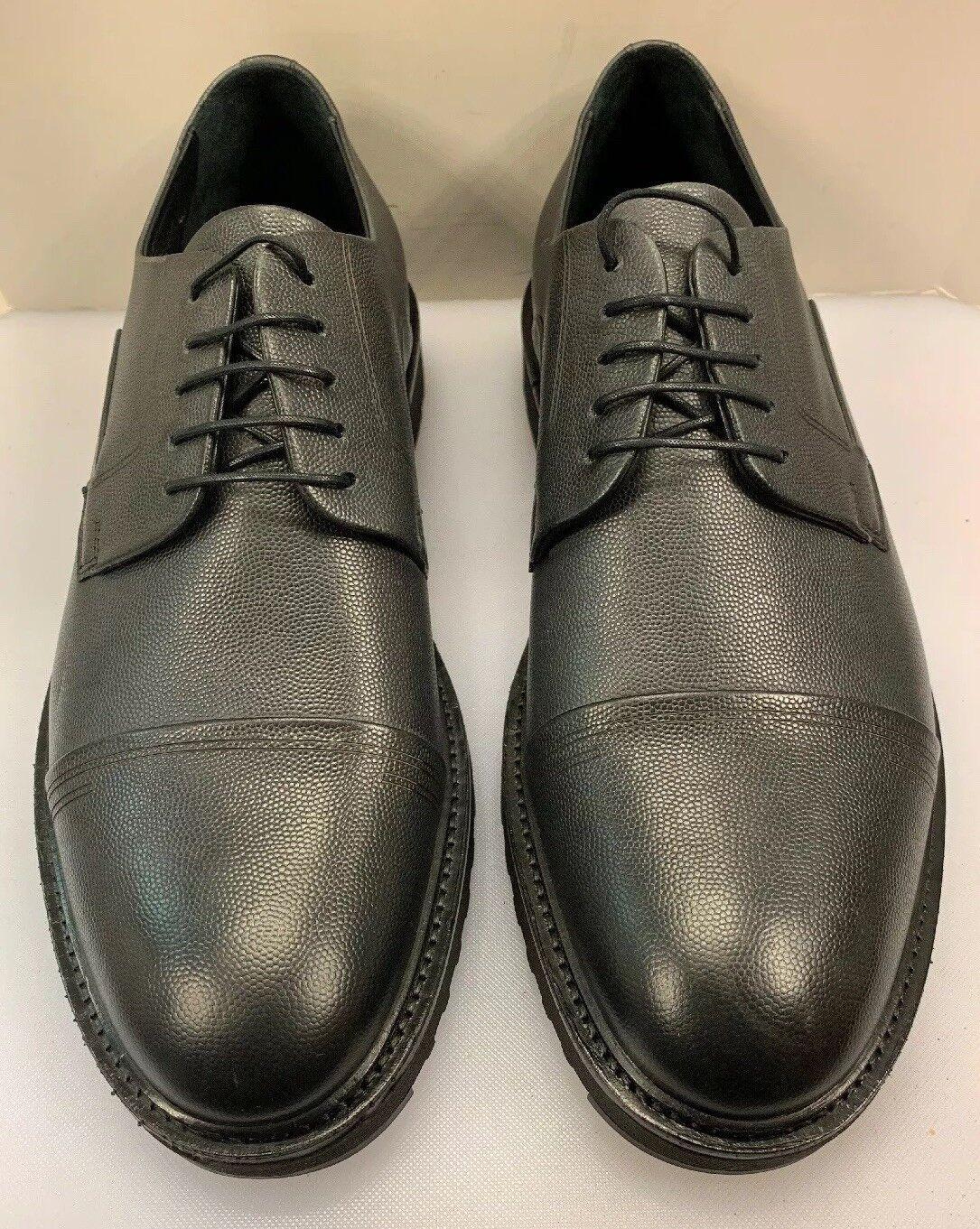 Hugo Boss Men 10 US 43 EU Pure Derby Texturosso Cap Toe Oxfords nero Leather