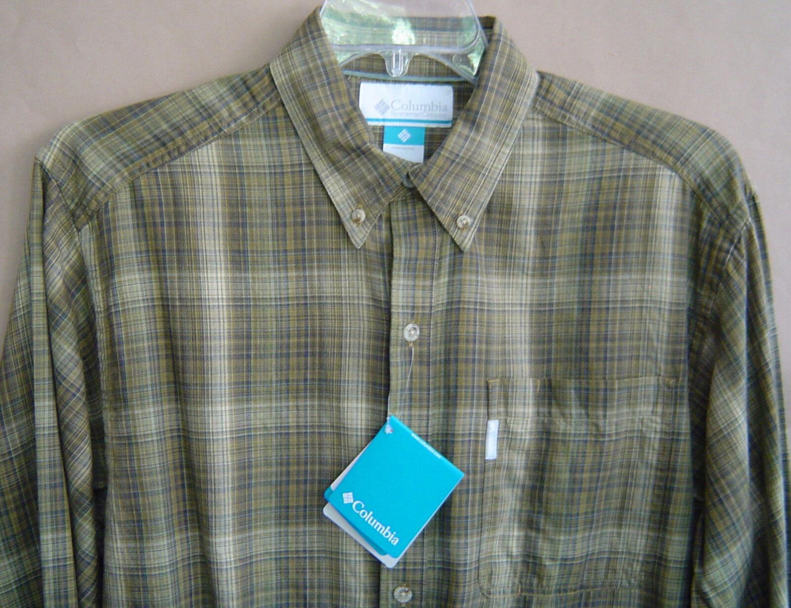 NWT  COLUMBIA NORTH BOUND WAY Mens M Shirt BRONZE PLAID L S Cotton AM7517-968