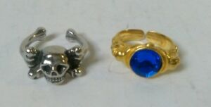 Two Different Pirate Fancy Dress Rings   Skull amp Crossbones And Blue Gem Ring - Bude, Cornwall, United Kingdom - Two Different Pirate Fancy Dress Rings   Skull amp Crossbones And Blue Gem Ring - Bude, Cornwall, United Kingdom