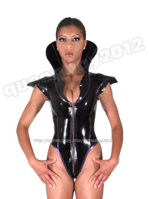 100% Latex Rubber Gummi 0.8mm Leotard Stand Collar Catsuit Suit Bodysuit Unitard