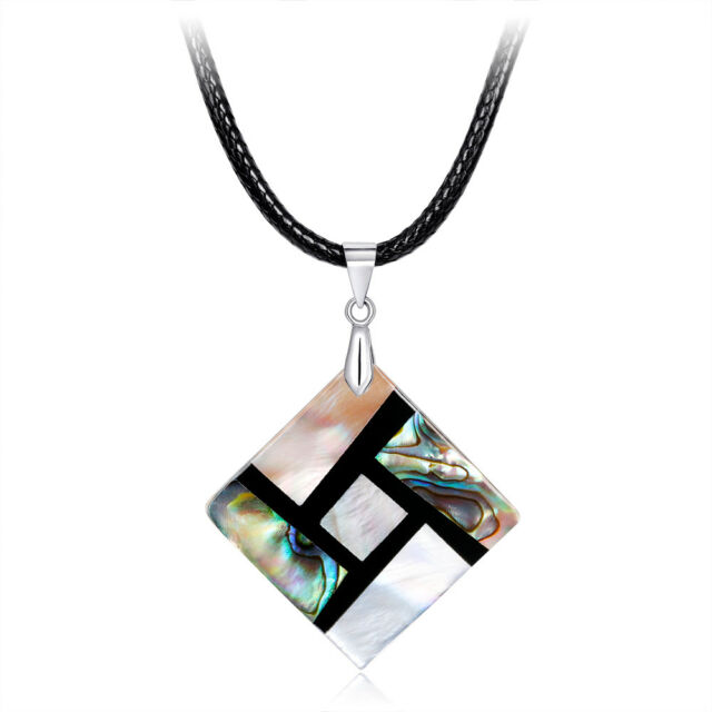 Women Ethnic Style Square Shaped Natural Abalone Shell Pendant Necklace l